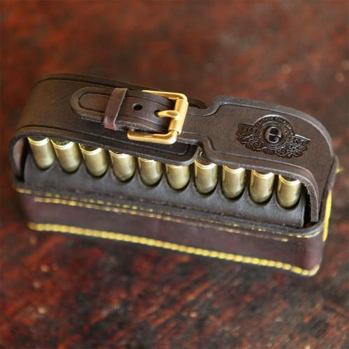 leather pouch, embossing, initials, cartridge pouch, cartridges, yellow stitching, hunting, brass buckles