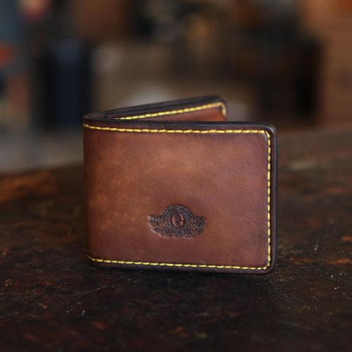 leather wallet, yellow stitching, embossing, logo, Wallet III