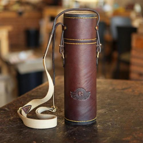 The Diepkloof Flask & Sleeve - 500ml Stanley, leather products, logo, yellow stitching, cotton canvas strap, handcrafted