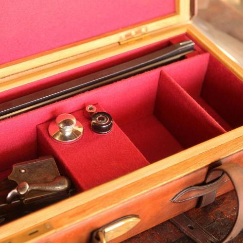 Matjiesfontein Gun Case, red, suede, gun case, wooden case, leather product, handcrafted