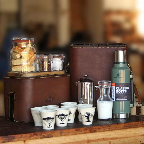 leather product, handcrafted, coffee bar, coffee beans, tea bags, rusks, glass jars, craftsmanship, flask