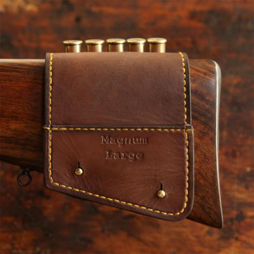 The Kimberley Rifle Stock Cartridge Pouch, leather product, brass studs, yellow stitching, handcrafted