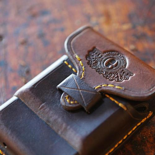 The Rhodes Cartridge Pouch, leather, leather product, handmade, handcrafted, yellow stitching, logo, embossing