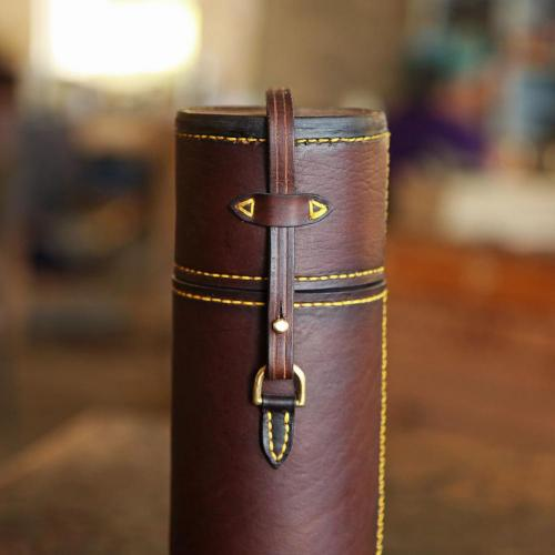The Diepkloof Flask & Sleeve - 500ml Stanley, yellow stitching, leather products, brass studs, brass finishes, handcrafted