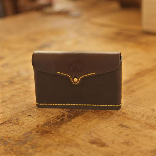 Somerset Closed Cartridge Pouch, yellow stitching, leather products, handcrafted, genuine leather, brass studs