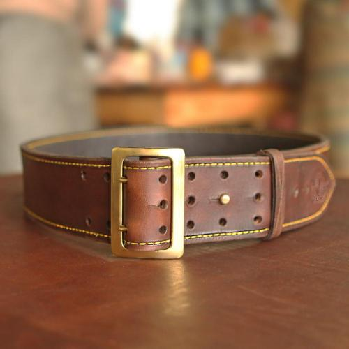 the Hogsback Leather Hunting Belt, brass buckle, holes, logo, leather product, handcrafted