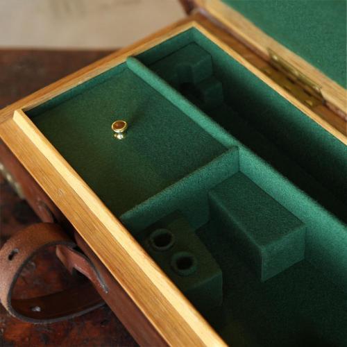 green, suede, gun case, compartments, wood case
