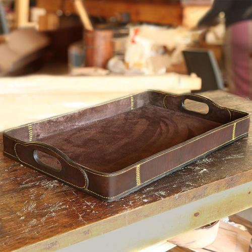 rectangular leather tray, suede-lined, leather