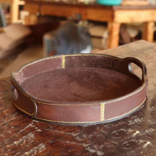 leather tray, round, handmade, suede-lined