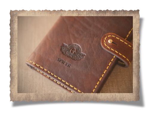 leather fly wallet, leather, yellow stitching, craftsmanship