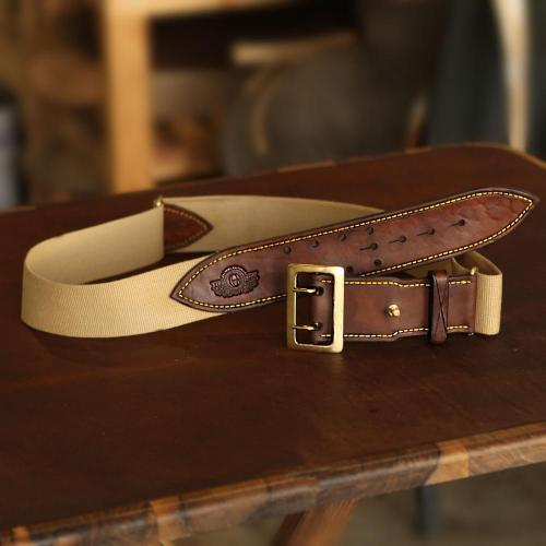 The Hogsback Hunting Belt, canvas belt, yellow stitching, leather products, bras buckle, logo, holes, handcrafted