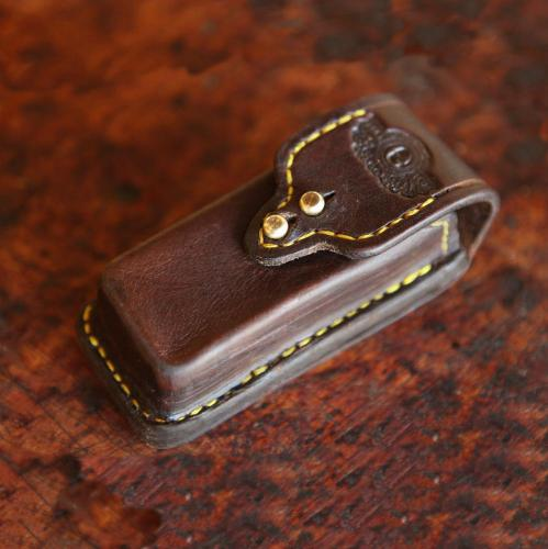 Multi-tool leather pouch, quick detachable, handcrafted leather product, brass studs, yellow stitching