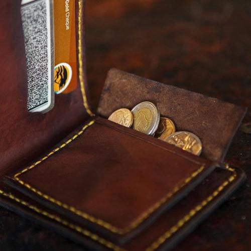 leather wallet, coins, yellow stitching, cards, leather, craftsmanship, handmade