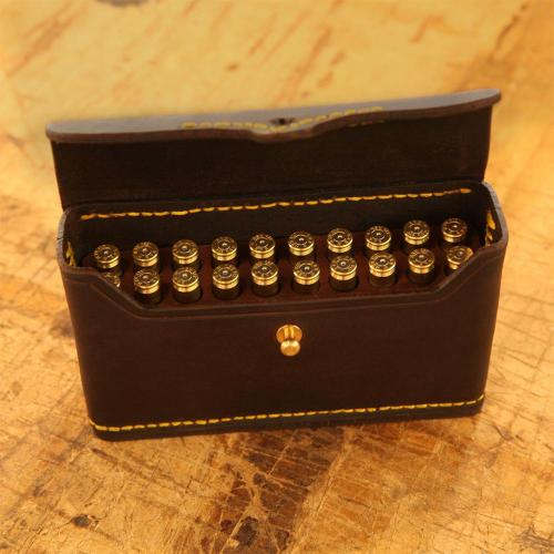 Somerset Closed cartridge pouch, brass stud, yellow stitching, leather products, cartridges, handcrafted