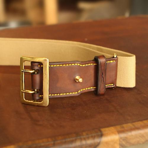 The Hogsback Hunting Belt, brass buckle, leather products, yellow stitching, canvas belt, handcrafted