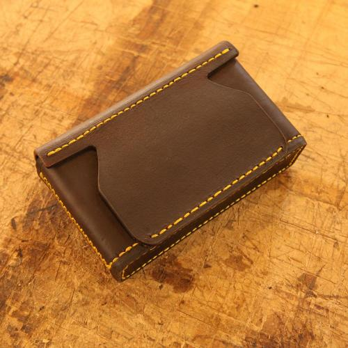 Somerset Closed Cartridge Pouch, yellow stitching, leather products, handcrafted, genuine leather