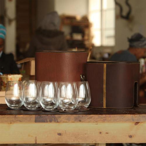 glass carrier, leather glass carrier, 8 glasses