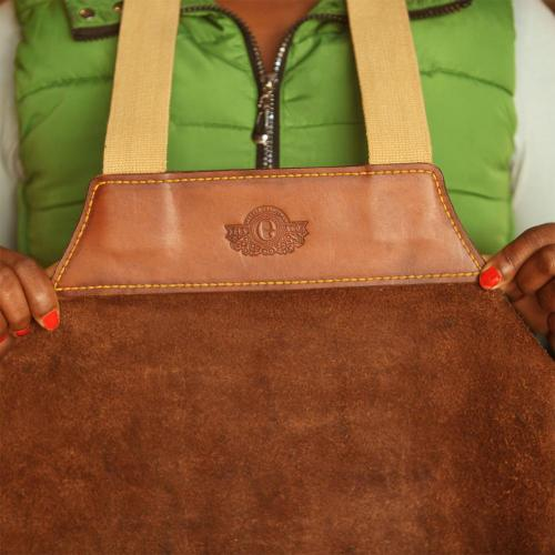 Winterton Firewood Carrier, leather, logo, canvas straps, suede, leather wood carrier